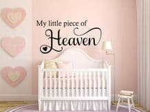 """Wall Quote """"My little piece of Heaven.""""Love Family Sticker Decal Decor Transfer"""